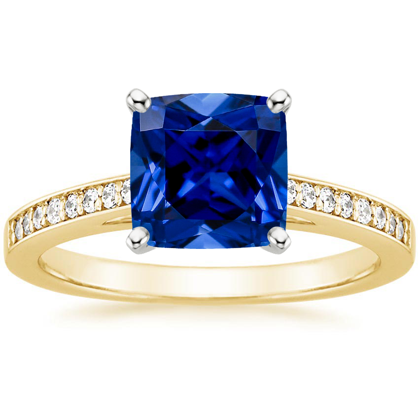 Yellow Gold Lab Created Sapphire Starlight Diamond Ring