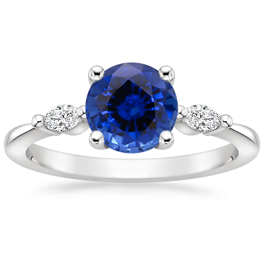 Sapphire Gia Diamond Ring in 18K White Gold
