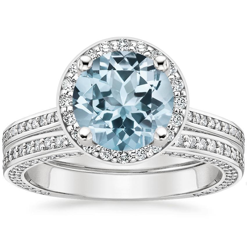 18KW Aquamarine Enchant Halo Bridal Set (1 ct. tw.), top view