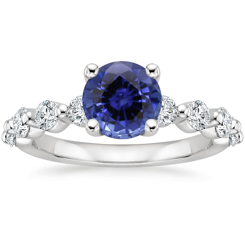 Sapphire Monaco Diamond Ring (2/3 ct. tw.) in 18K White Gold