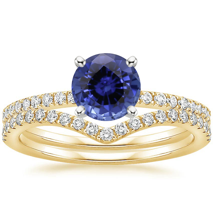 18KY Sapphire Ballad Diamond Ring (1/8 ct. tw.) with Flair Diamond Ring (1/6 ct. tw.), top view