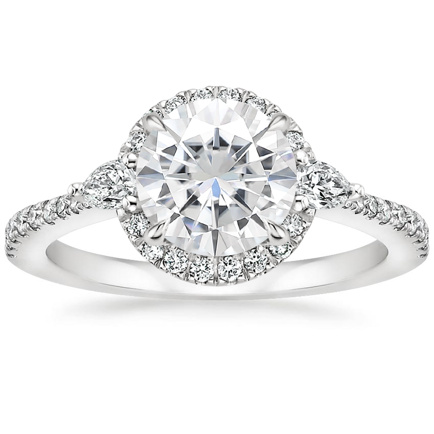 Moissanite Luxe Aria Halo Diamond Ring (1/4 ct. tw.) in 18K White Gold