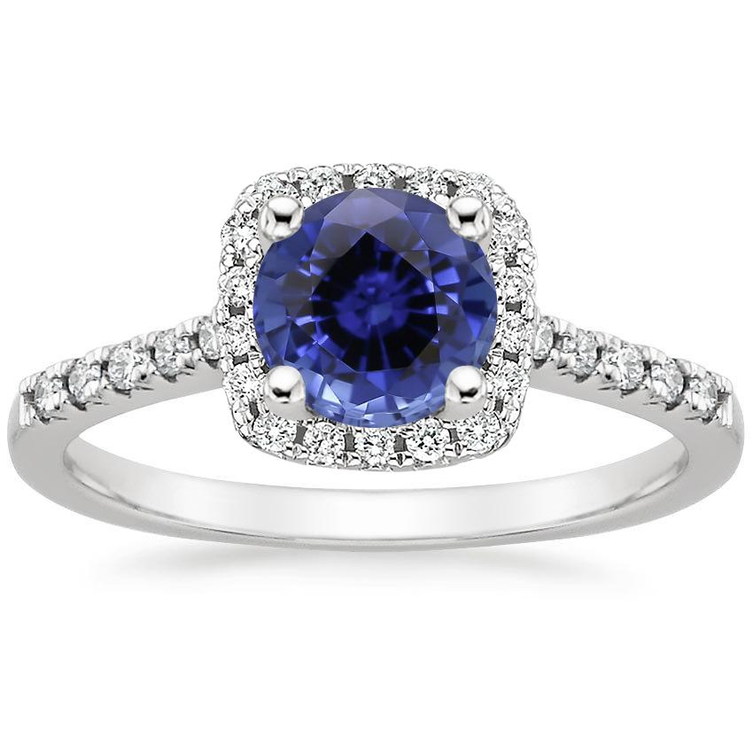 Sapphire Odessa Diamond Ring (1/5 ct. tw.) in 18K White Gold