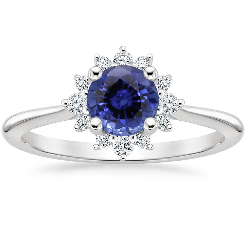 Sapphire Sol Diamond Ring in 18K White Gold