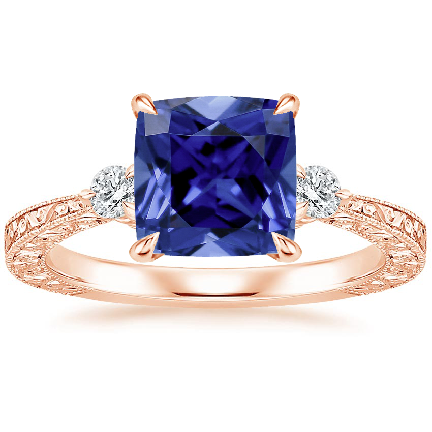 Rose Gold Sapphire Bristol Diamond Ring