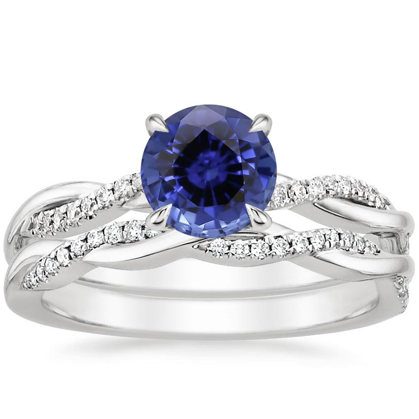 18KW Sapphire Petite Twisted Vine Diamond Bridal Set (1/4 ct. tw.), top view