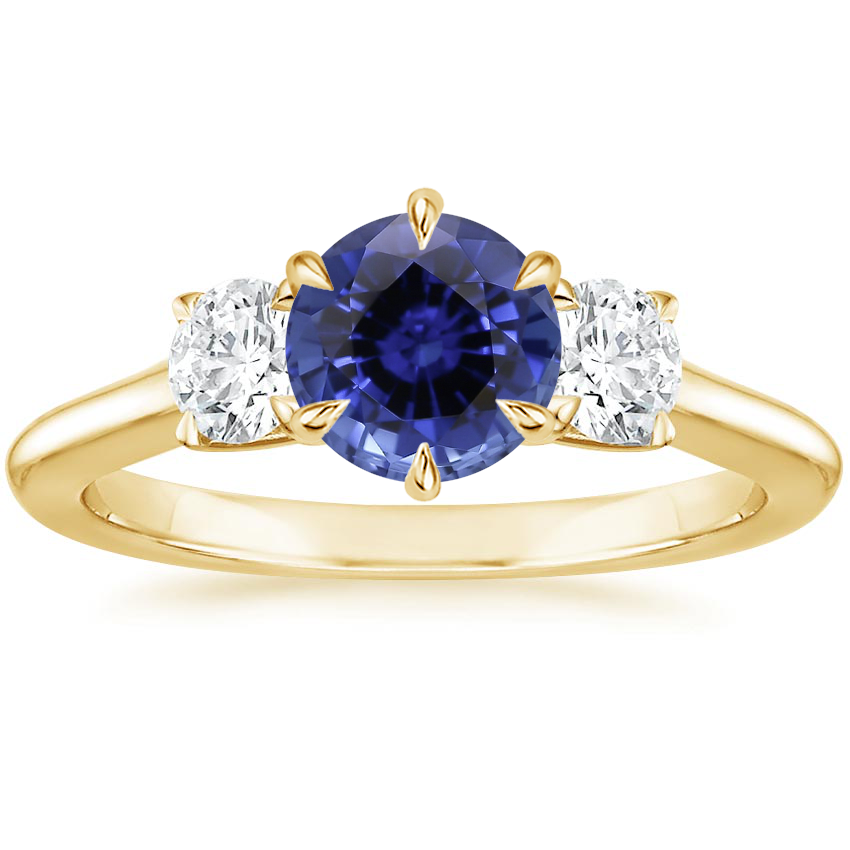 Yellow Gold Sapphire Three Stone Catalina Diamond Ring (1/2 ct. tw.)