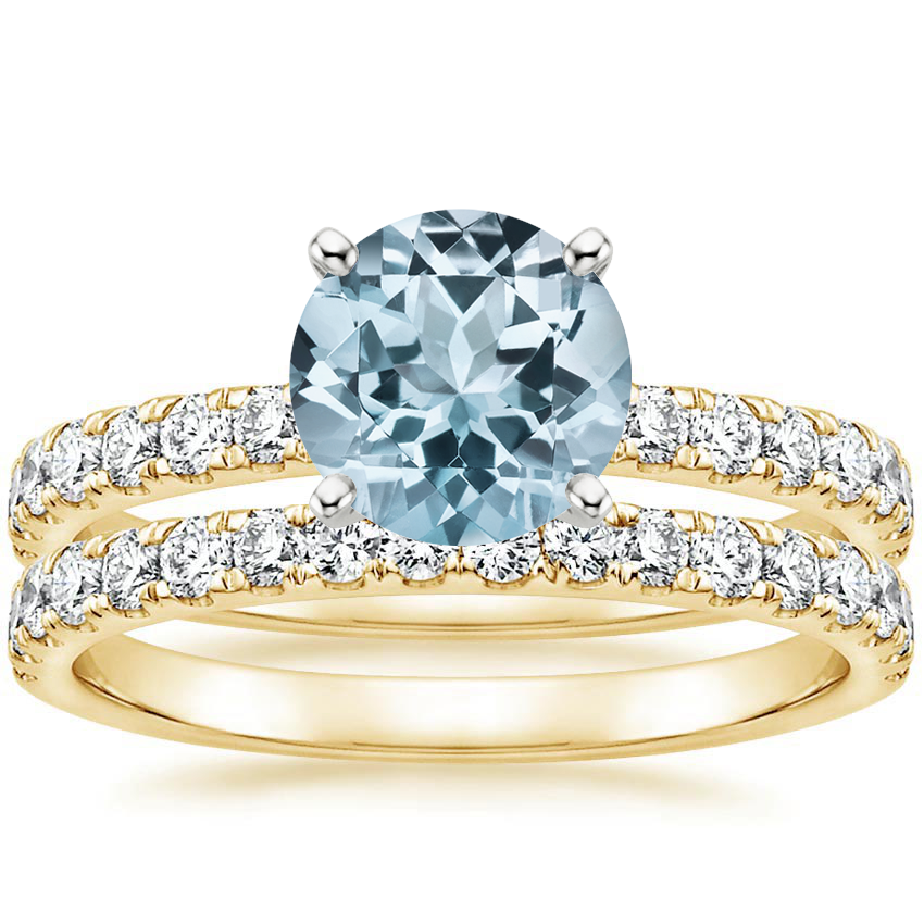 18KY Aquamarine Constance Diamond Bridal Set, top view