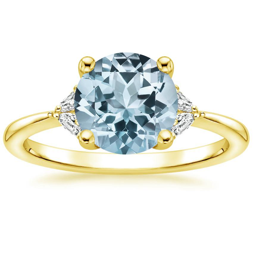 Yellow Gold Aquamarine Faye Diamond Ring