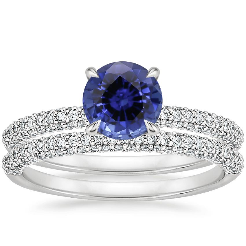 18KW Sapphire Valencia Diamond Bridal Set (5/8 ct. tw.), top view
