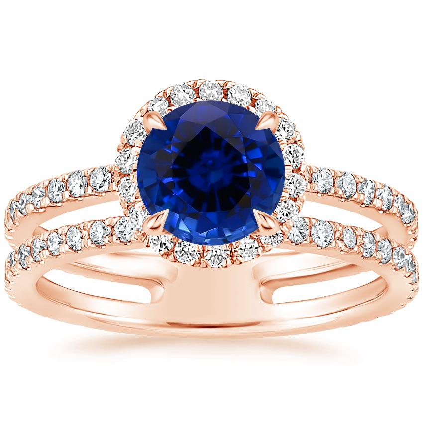 Rose Gold Sapphire Linnia Halo Diamond Ring (2/3 ct. tw.)
