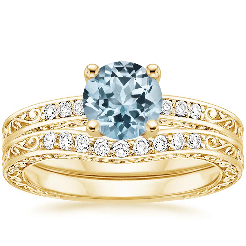 18KY Aquamarine Delicate Antique Scroll Contoured Diamond Bridal Set, top view