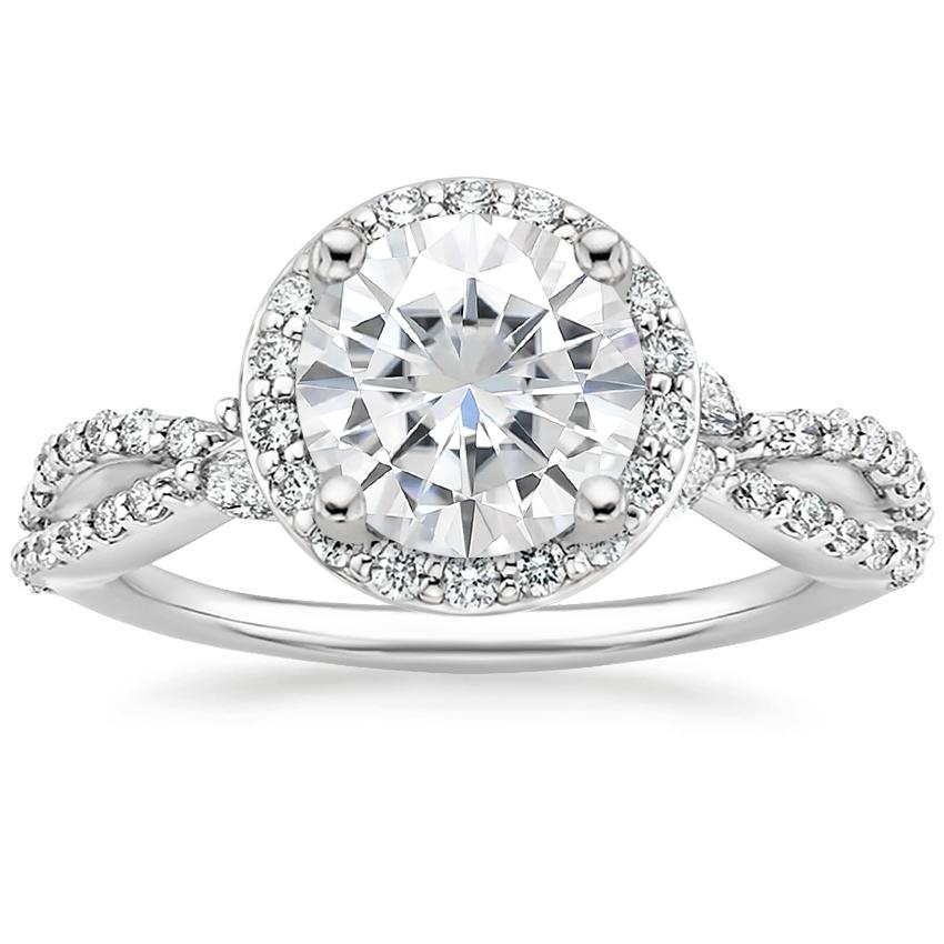 Moissanite Luxe Willow Halo Diamond Ring (2/5 ct. tw.) in 18K White Gold