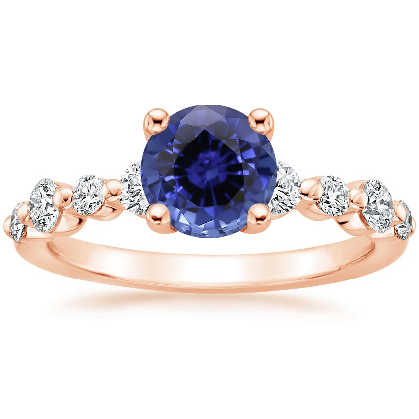 Rose Gold Sapphire Bordeaux Diamond Ring