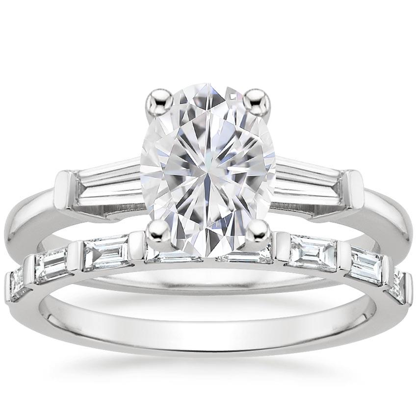 18KW Moissanite Tapered Baguette Diamond Ring (1/5 ct. tw.) with Barre Diamond Ring (1/4 ct. tw.), top view