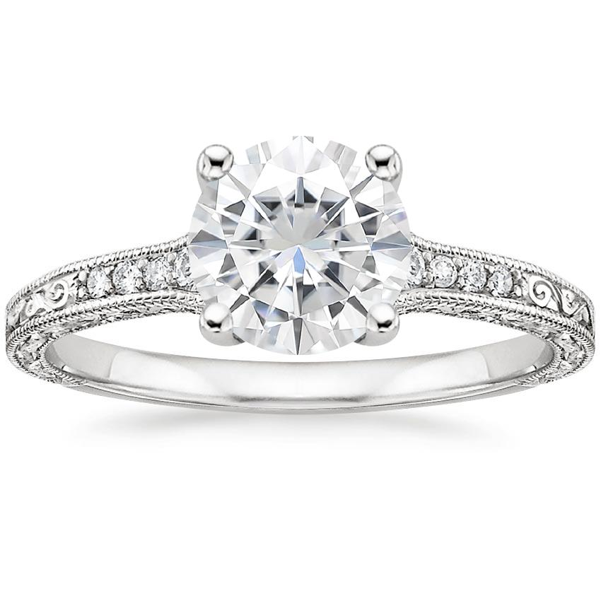 Moissanite Luxe Hudson Diamond Ring in 18K White Gold
