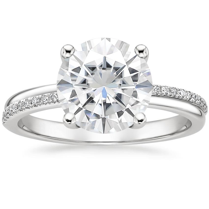 Moissanite Symphony Diamond Ring in 18K White Gold