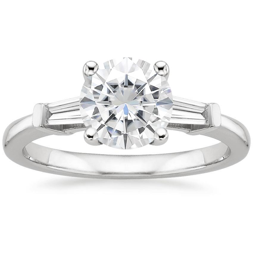Moissanite Tapered Baguette Diamond Ring in 18K White Gold