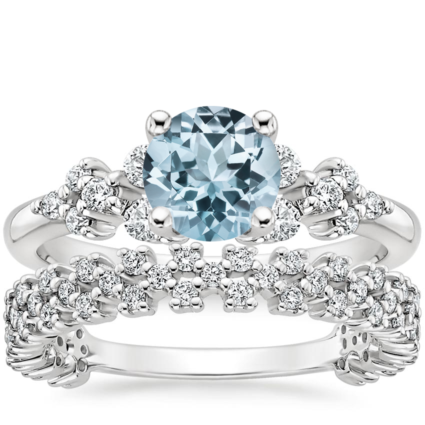 18KW Aquamarine Effervescence Diamond Bridal Set, top view