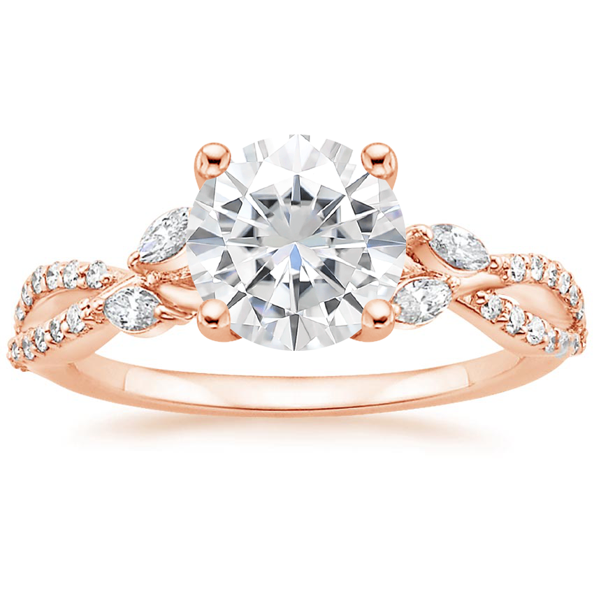 Rose Gold Moissanite Luxe Willow Diamond Ring (1/4 ct. tw.)