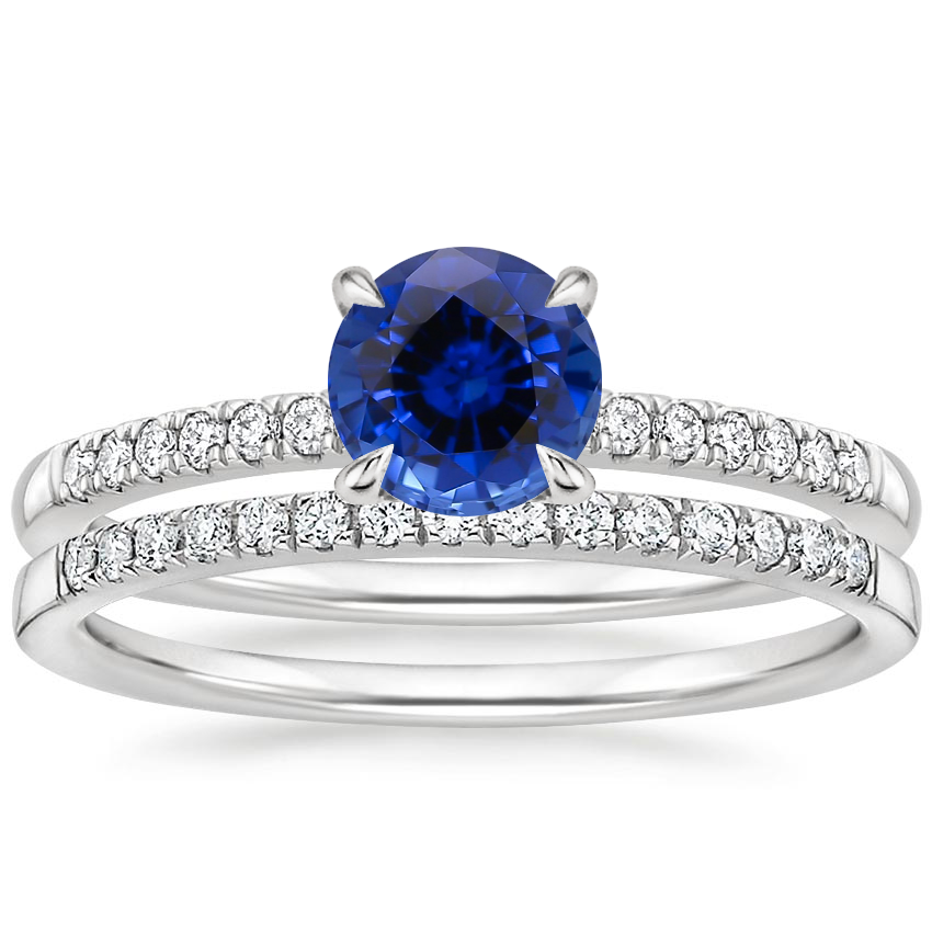 PT Sapphire Petite Viviana Diamond Bridal Set (1/4 ct. tw.), top view