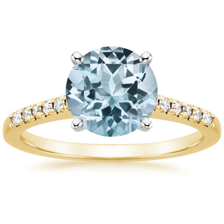 Yellow Gold Aquamarine Sonora Diamond Ring