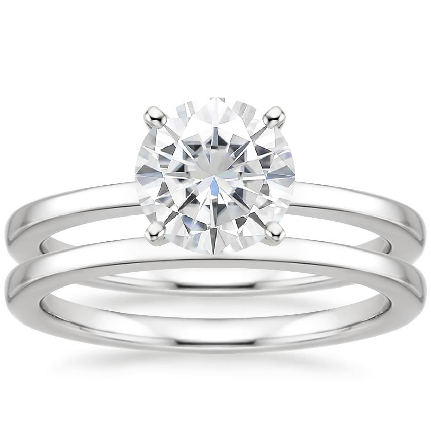 18KW Moissanite Petite Quattro Bridal Set, top view
