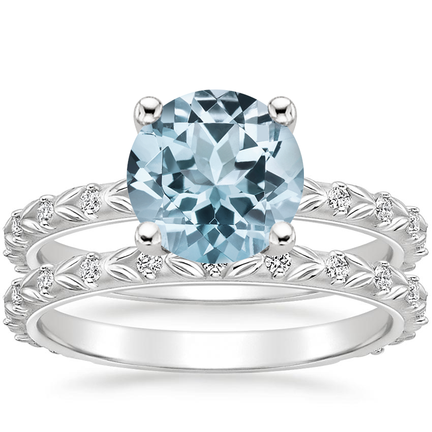 18KW Aquamarine Hollie Diamond Bridal Set, top view