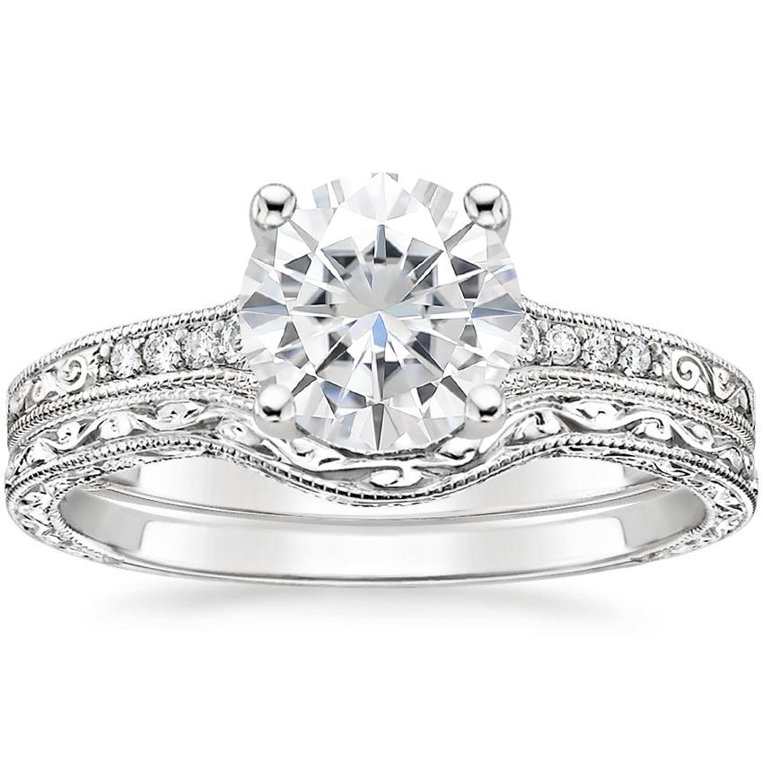 PT Moissanite Contoured Luxe Hudson Diamond Bridal Set, top view