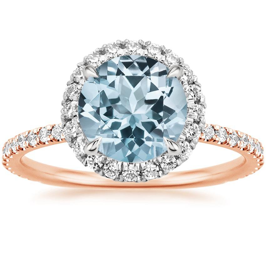 Rose Gold Aquamarine Mixed Metal Waverly Diamond Ring (1/2 ct. tw.)