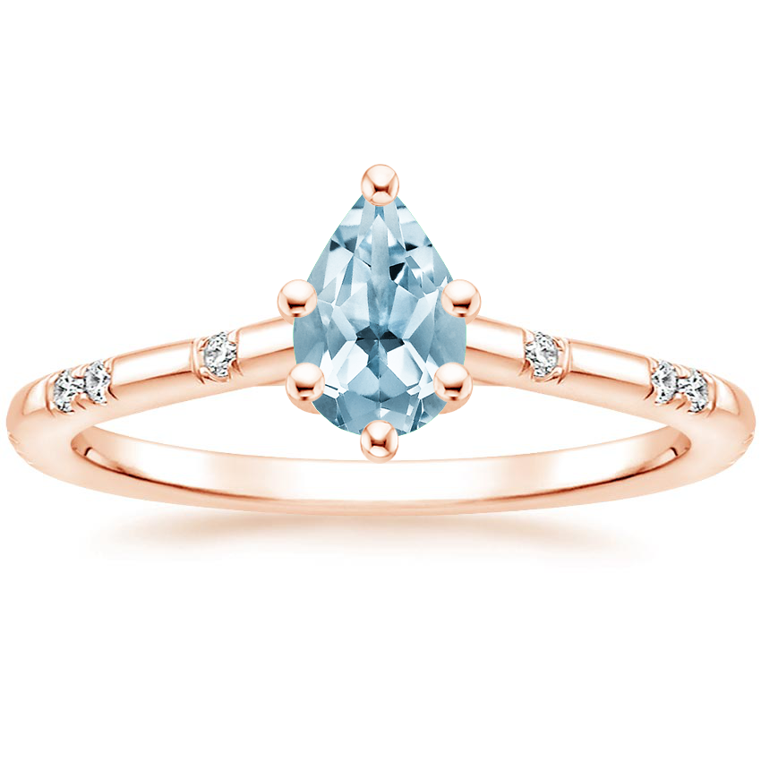 Rose Gold Aquamarine Astra Diamond Ring