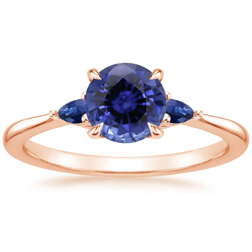 Rose Gold Sapphire Aria Ring with Sapphire Accents