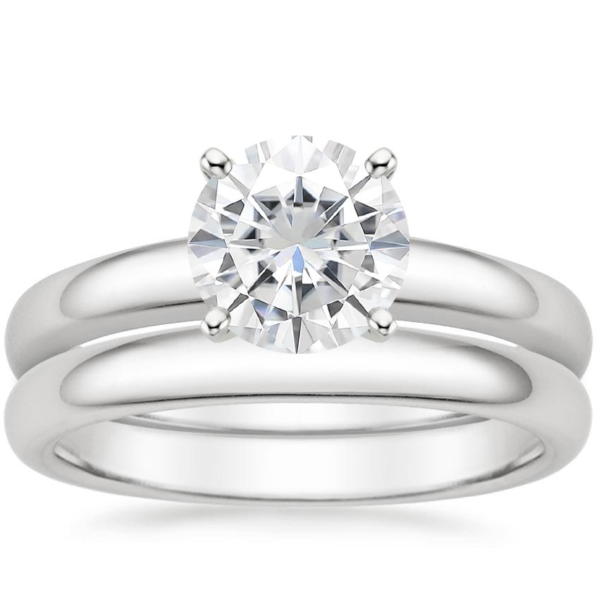 18KW Moissanite 3mm Comfort Fit Bridal Set, top view