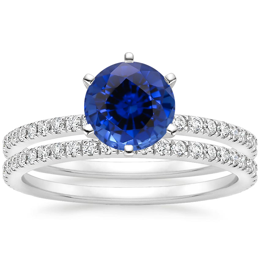 18KW Sapphire Lyric Diamond Ring with Luxe Ballad Diamond Ring (1/4 ct. tw.), top view