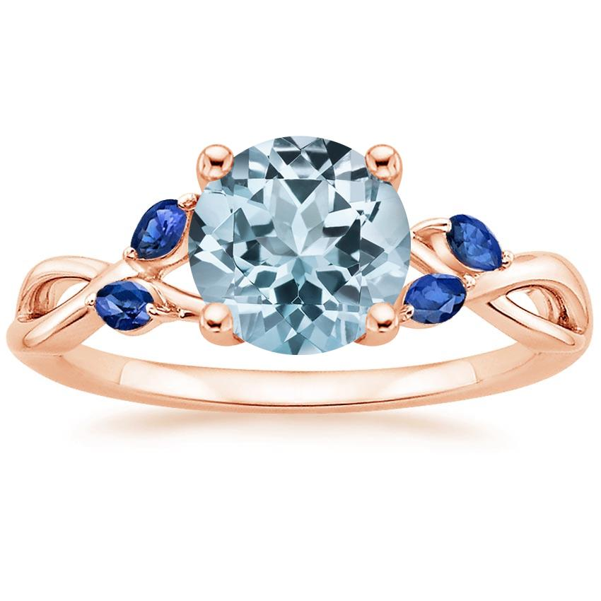 Rose Gold Aquamarine Willow Ring With Sapphire Accents