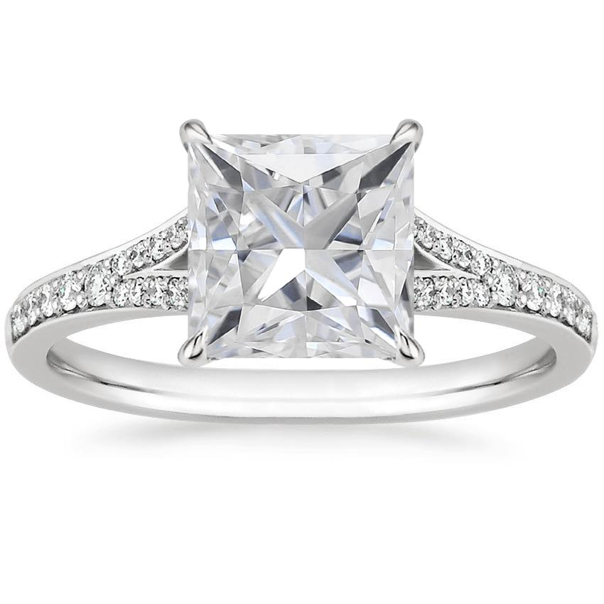 Moissanite Duet Diamond Ring in 18K White Gold