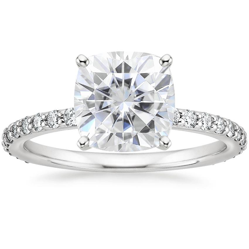 Moissanite Luxe Petite Shared Prong Diamond Ring (1/3 ct. tw.) in 18K White Gold
