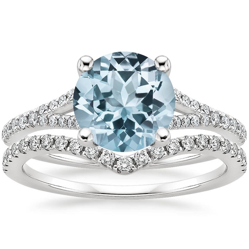18KW Aquamarine Flair Diamond Bridal Set (1/3 ct. tw.), top view