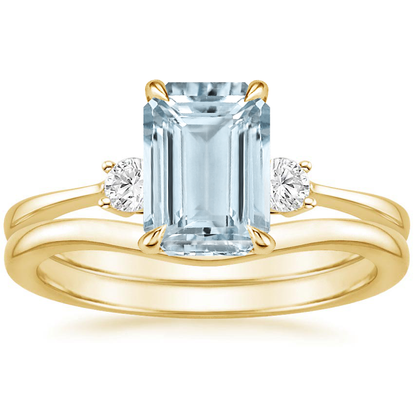 18KY Aquamarine Selene Diamond Ring (1/10 ct. tw.) with Petite Curved Wedding Ring, top view