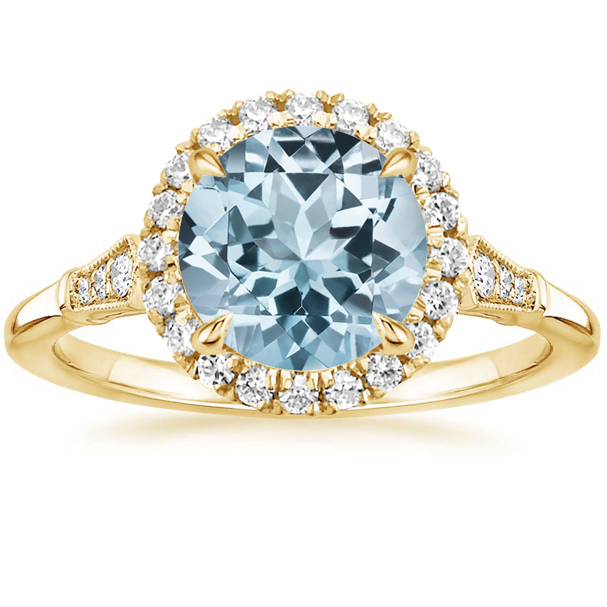 Yellow Gold Aquamarine Linden Diamond Ring
