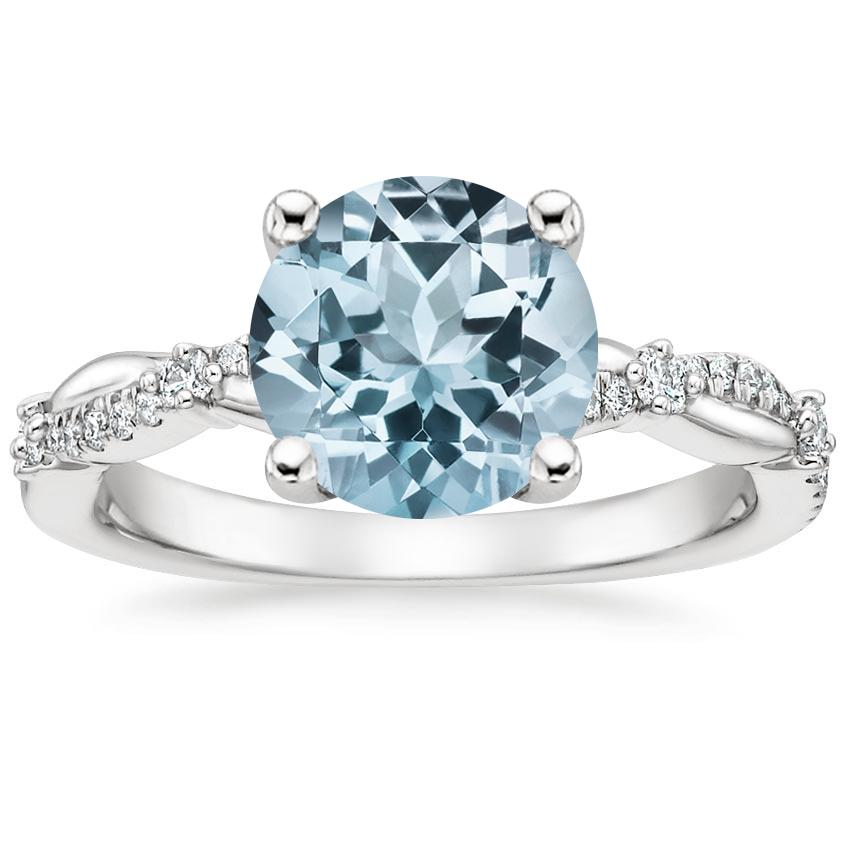 Aquamarine Meadow Diamond Ring in 18K White Gold