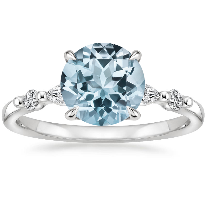 Aquamarine Petite Versailles Diamond Ring (1/6 ct. tw.) in 18K White Gold