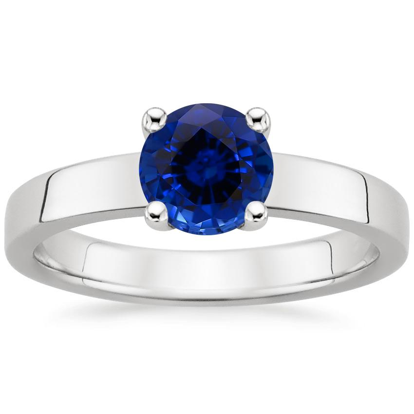 Sapphire Marina Ring in 18K White Gold