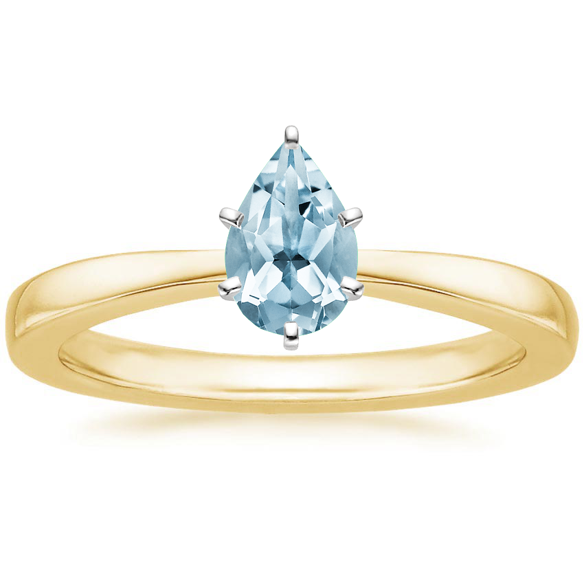 Yellow Gold Aquamarine Petite Taper Ring