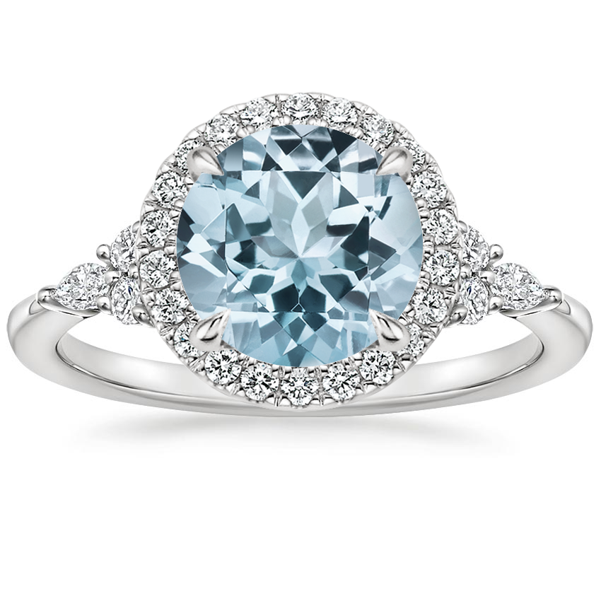 Aquamarine Nadia Halo Diamond Ring (1/4 ct. tw.) in 18K White Gold