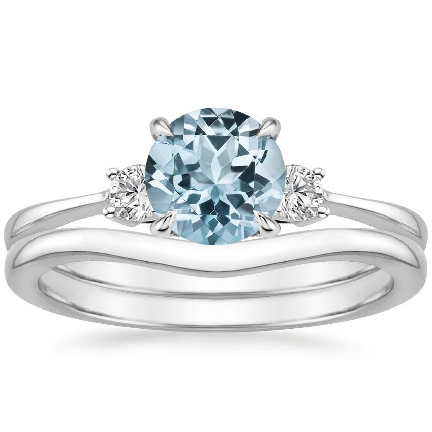 18KW Aquamarine Selene Diamond Ring (1/10 ct. tw.) with Petite Curved Wedding Ring, top view