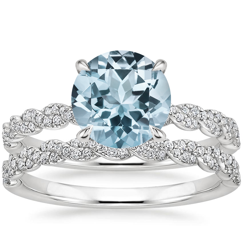 PT Aquamarine Cadence Diamond Bridal Set, top view