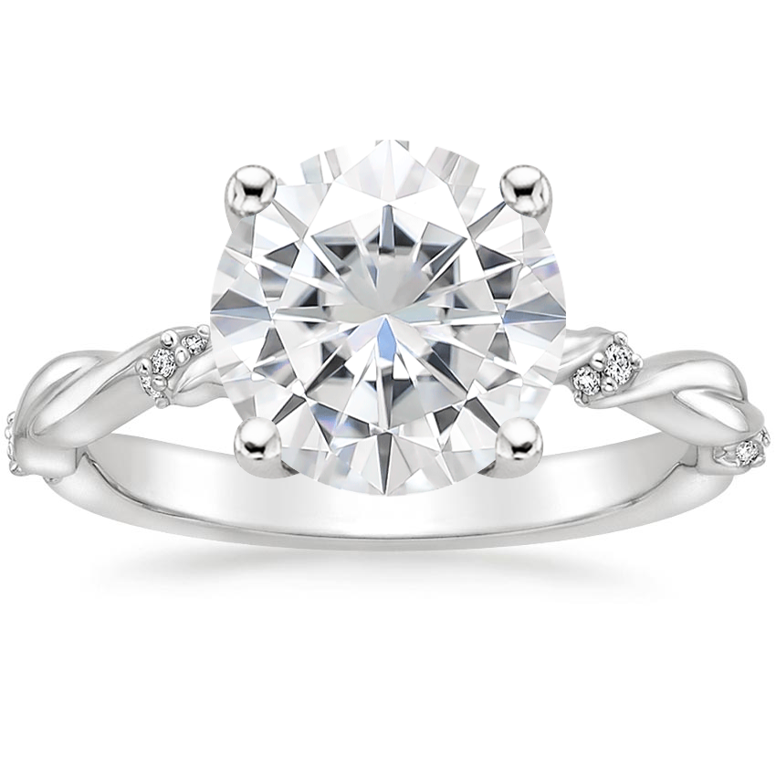 Moissanite Cleo Diamond Ring in 18K White Gold