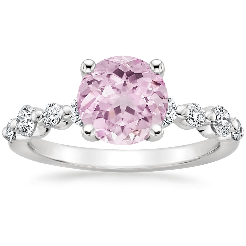 Lab Created Sapphire Bordeaux Diamond Ring in 18K White Gold