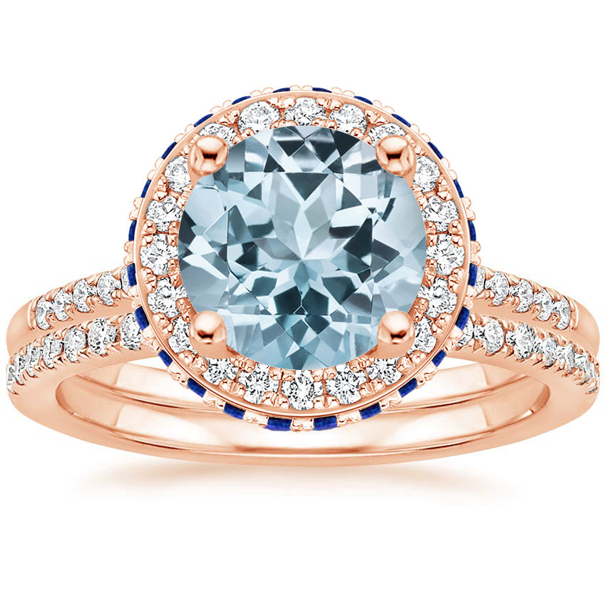 14KR Aquamarine Circa Diamond Ring with Sapphire Accents with Ballad Diamond Ring (1/6 ct. tw.), top view